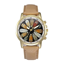 Women Retro Digital Dial Leather Band Quartz Analog Wrist Watch Watches-Khaki