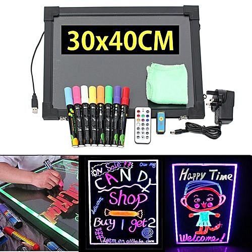 40x30cm Flashing Illuminated Erasable Neon LED Message Menu Writing Sign  Board