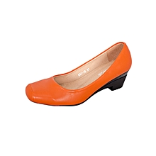 Orange Women's Smooth Edged Square Toe Low Heel
