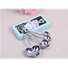 Heart Measuring Spoons Stainless Steel Tool Wedding Party Gift Souvenirs-Blue