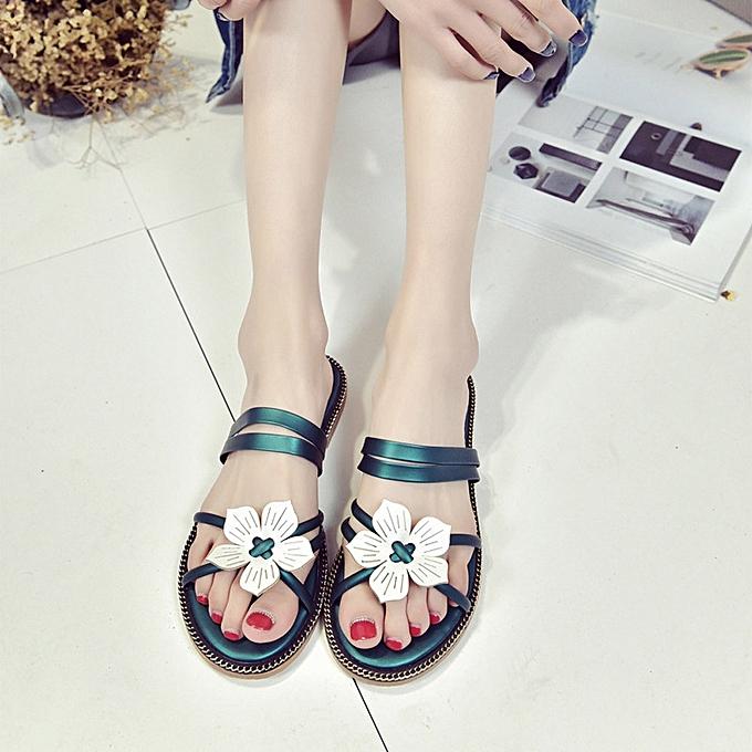 9494057c1430f ... Blicool Shop Women Sandals Women Bohemia Summer Flower Weave Sandals  Beach Peep-Toe Flip Flops ...