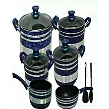 Non Stick Cooking Ware Pots -10 Pieces - Blue