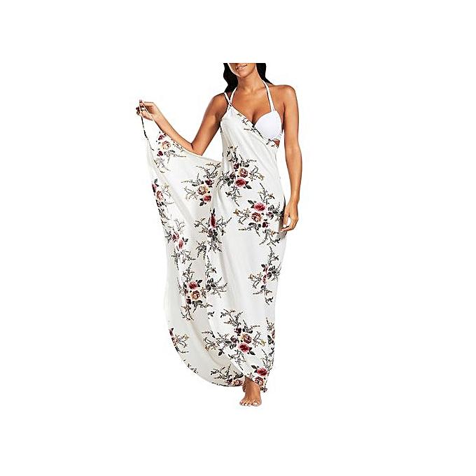 7c33aaaff39f8 Fashion Women Chiffon Floral Convertible Sarong Wrap Cover Up Dress ...