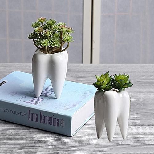 Buy Generic Set Of 2 Cute Teeth Flower Pot Modern White Ceramic