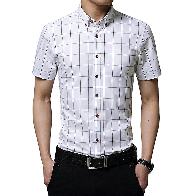 31e4329ea8f4 2019 Men s Short Sleeve Shirt Summer Business Formal Casual Plaid Checked  Top T Shirts-White