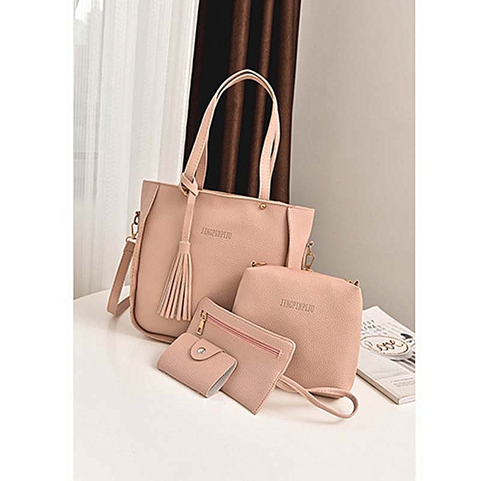 cd23618d691d Generic 4pcs set Women Handbags Fashion Tassels Messenger Handbag Set PU  Leather Composite Bag Crossbody Bag Tote Bag Purses - pink   Best Price