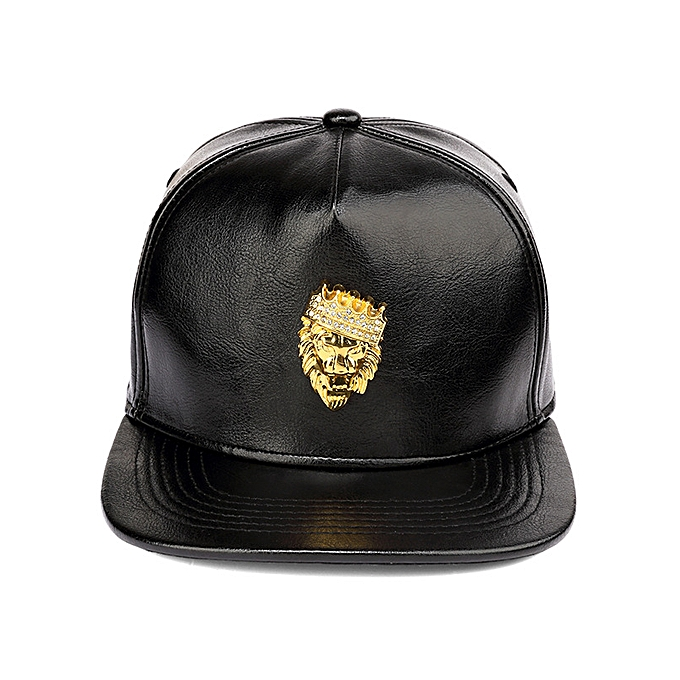 ec7ebbf7c0 Black   adjustable-Hip-hop crown lion head PU baseball cap flat brim cap