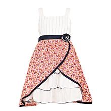d01d73cb24a5c Navy Sleeveless Squared Neck Girls Dress