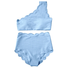 High Rise Scalloped One Shoulder Bikini-LIGHT BLUE