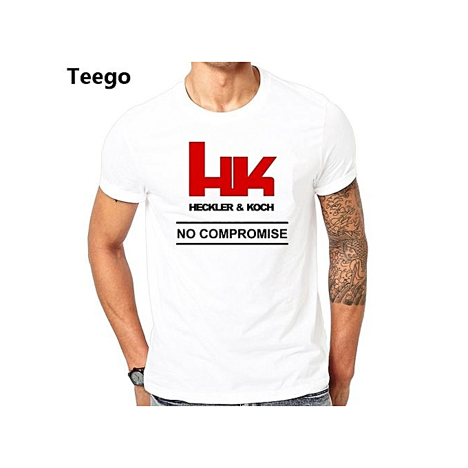 Mens T Shirts HK Logo Heckler Koch Firearms No Compromise Man Pre-Cotton Short Sleeve