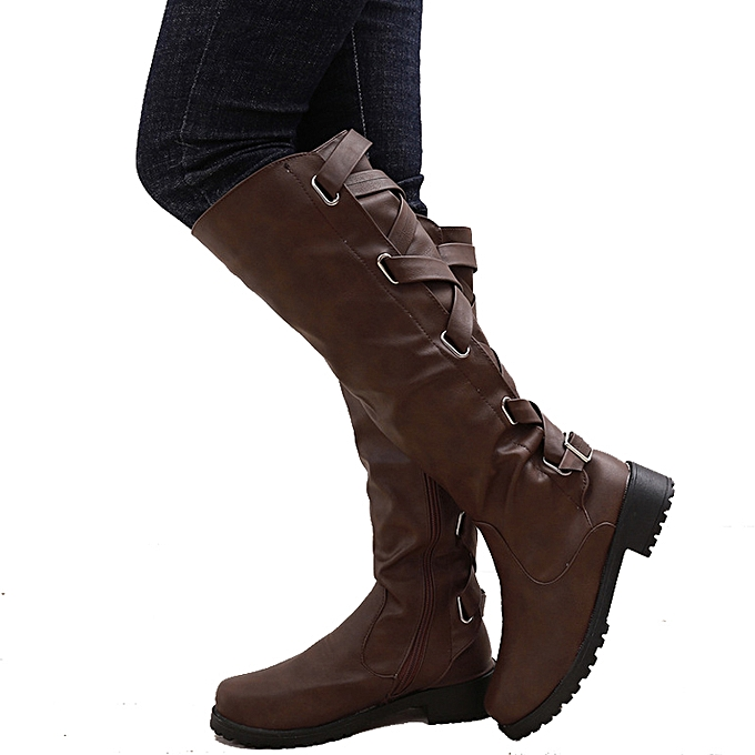 5cb7bd22326f Women Shoes With Warm Lining Girls Boots Pu Leather Fashion Riding Knee High  Lace-Up