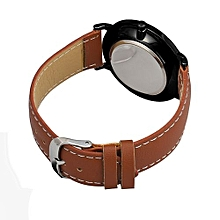Henoesty Quartz Watch Men Women Famous Brand Gold Leather Band Wrist Watches Luxury Brown