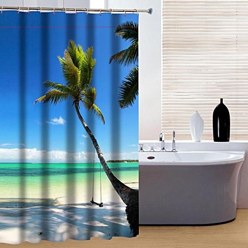 Fabric Waterproof Printing Shower Curtain Tropical Paradise Ocean Beach Bathroom