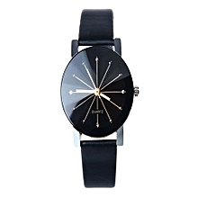 Ladies Quartz Dial Clock Leather Wrist Watch Round Case -Black