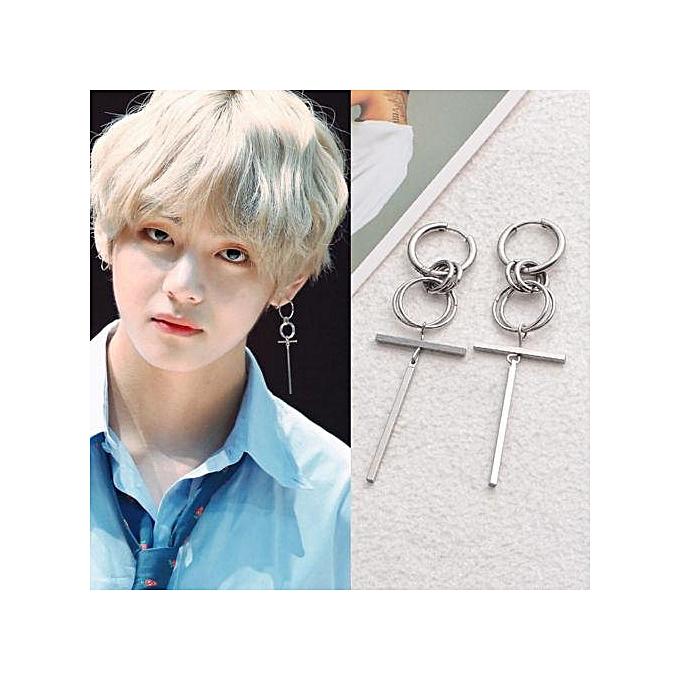 0c71319ea Eleganya K-pop 1Pair BTS V Earring Bangtan Boys Hoop Earrings BTS  Accessories