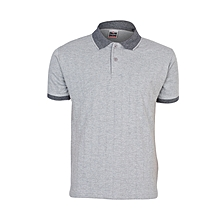 Ash Grey Men's T-Shirt With Checked Collar