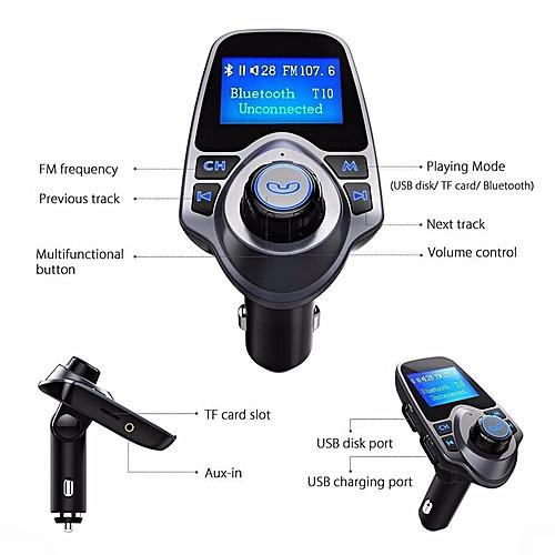 Bluetooth Car Kit Wireless Transmitter FM Radio Adapter (Black) SHUKA
