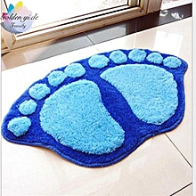 Blue Footprint Plush Shaggy Bathroom Soft Non Slip Absorbent Mat