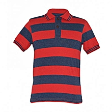 Red and Navy Striped Mens Polo Shirts