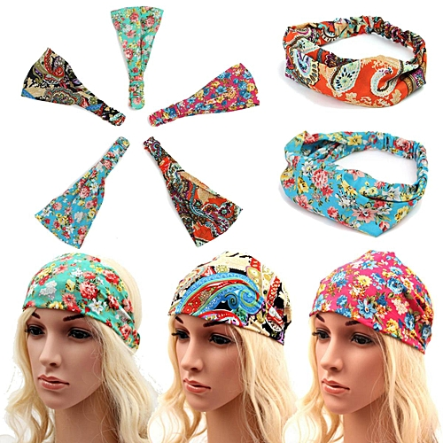 Generic 5pcs Women Yoga Sports Floral Boho Headband Elastic Hair Band Head  Wrap Turban e8b402e2b7b