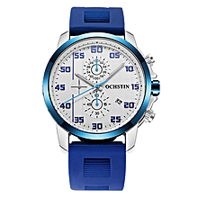 OCHSTIN Brand Quartz-watch Male Silicone Band Mens Watches Gift Watch Analog Sports Wristwatch for Men military Clock (White) WWD