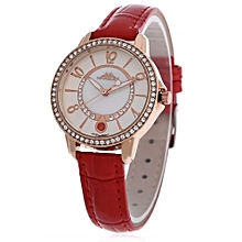 Women Quartz Watch 30M Water Resistance Wristwatch-RED