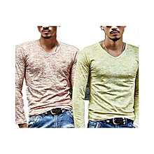 Pack of  2  Men's Cotton Casual Long Sleeve T-shirt  Brown&Green