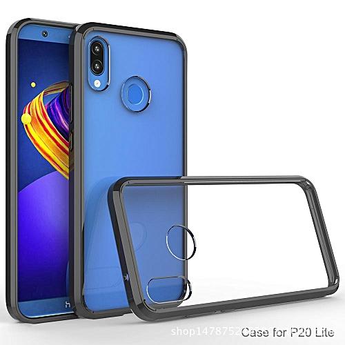 For Huawei Nova 3E Transparent Silicone Phone Case Anti-drop Silicone Case  Acrylic Frame + Silicone Transparent Back Cover + Transparent Air Bag = 3
