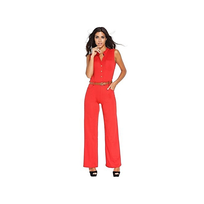 9be134e1706 Generic Hot Sale S-2XL Plus Size Large Casual Belted Wide Leg Full Length  Women Jumpsuit Jumpsuits Rompers -red