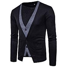 bluerdream-Men's Autumn Winter Long Sleeve Patchwork Pocket Blouse Tops Coat Outwear BKL- Black