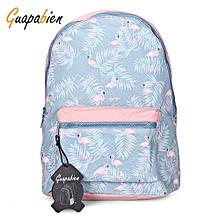 Guapabien Waterproof Girls Traveling Preppy Style Print Backpack Zipper School Bag-AZURE