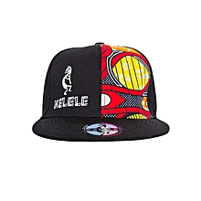 Black And Red Snapback Hat With Kelele Color On Panel