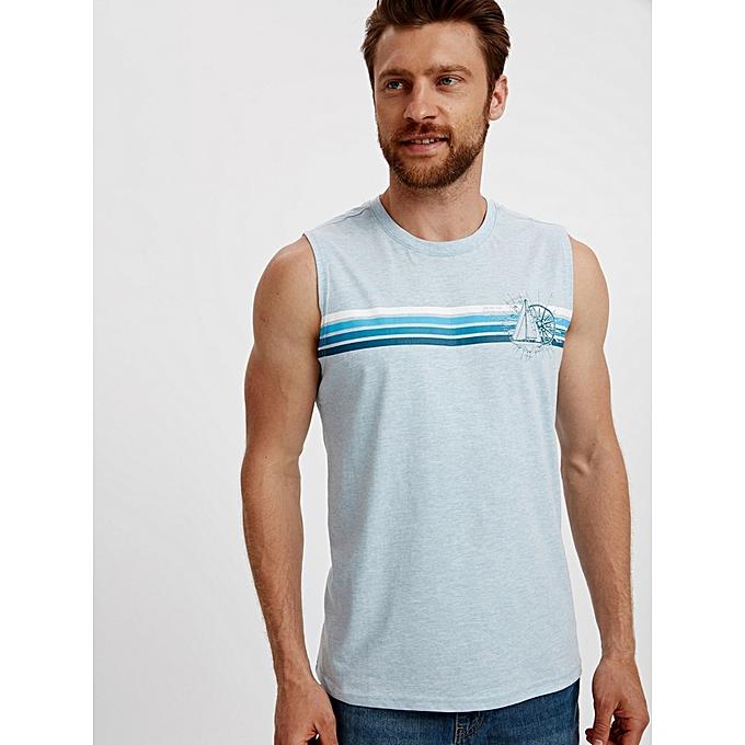 Blue Fashionable Standard Sleeveless Jersey Tank Top