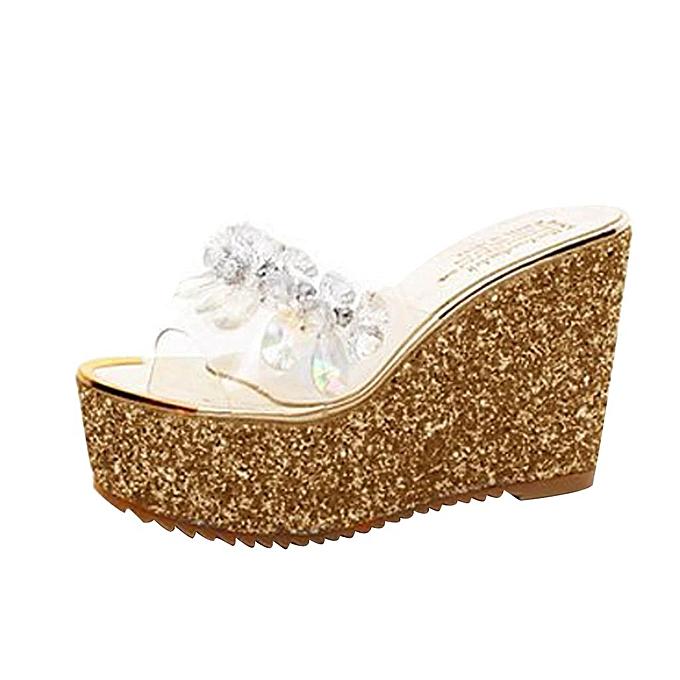 0b45c4c021aca ... birthpar store Women Shoes Summer Wedge Slippers Fashion High Heel  Sandals Simple Sweet Slipper-Gold ...
