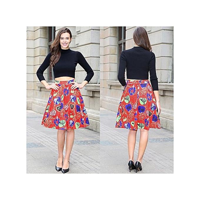 679368f53d Women Sexy Midi Skirt Dot Floral Print Vintage Red Plus Size Summer High  Waist Ball Gown