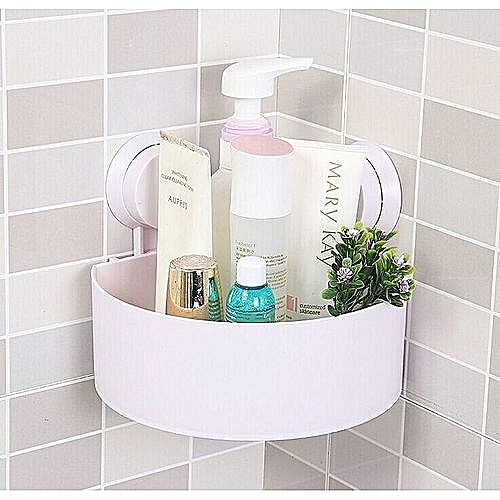 Generic Wall Suction Cups Holder, Bathroom Shelf Shower Shampoo Soap  Storage Rack White