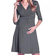 huskspo Women's Pregnancy V Collar Dress Maternity Summer Solid Color Sundress Clothes