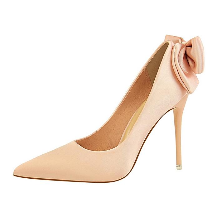 Sexy Women Thin High Heel Stiletto Shallow Bowknot Pointed Pumps (Pink) 35f86d16e5