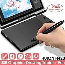 Huion H420 Pro Pad Graphics Drawing Writing USB Art Tablet Board Mat Digital Pen