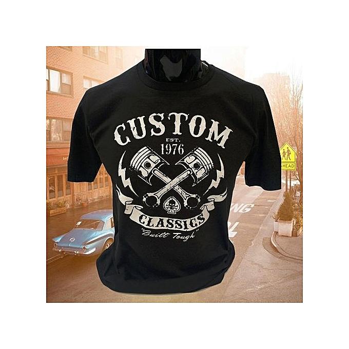 8c539b6d Custom Classics Mens T-Shirt Biker Skull Motorcycle Rock Bike Cotton Short  Sleeves Printes Shirt