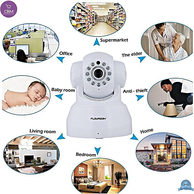FLOUREON Wireless IP Camera 720P HD Home Surveillance Security Indoor  Camera Two Way Audio Baby Monitor Support Night Vision/Motion Detection  White