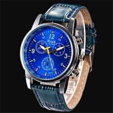 Blicool Wrist Watch Luxury Fashion Crocodile Faux Leather Mens Analog Watch Wrist Watches BU-blue