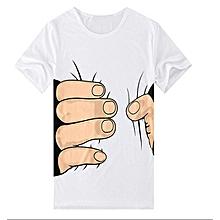 Creative 3D Big Hand Bone Print Short Sleeve T-shirt Tee Summer Fashion Top-White.,