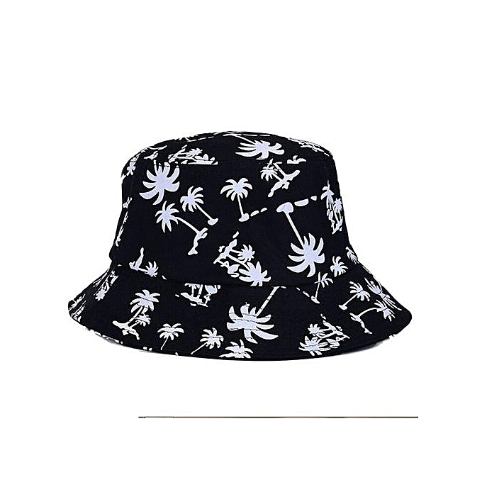 Eissely Graffiti Flat Bucket Hat With Coconut Tree Pattern Outdoor ... dd1bea29092