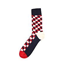 New Fashion Man Plaid Color Block Cotton Sock Colorful Diamond Casual Sock