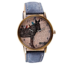 Tectores 2018 Fashion Multifunction Retro Clock Zebra Cowboy Leather Band Analog Quartz Watch DB