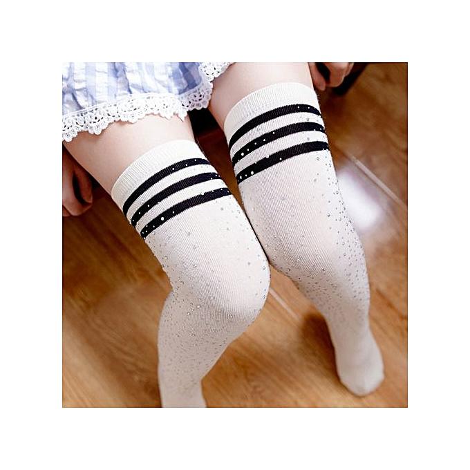 ae3fd7c5a Lightning Fashion Striped Beads Knee Socks Women High Knee Stockings Long  Stocking WH- White ...