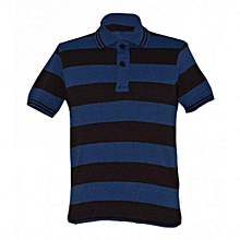 Dark Brown and Blue Striped Mens Polo Shirts