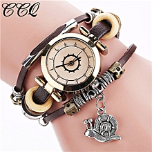 guoaivo CCQ Brand Vintage Cow Leather Bracelet Watch Men Women Wristwatch Quartz  -Coffee
