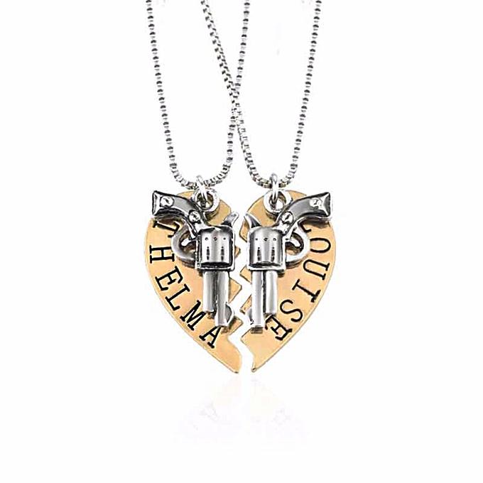 2ef0f55b THELMA LOUISE Pendant Necklaces Set Guns Heart Friendship Adventure Dom Best  Friends Forever Creative Girl Keepsake